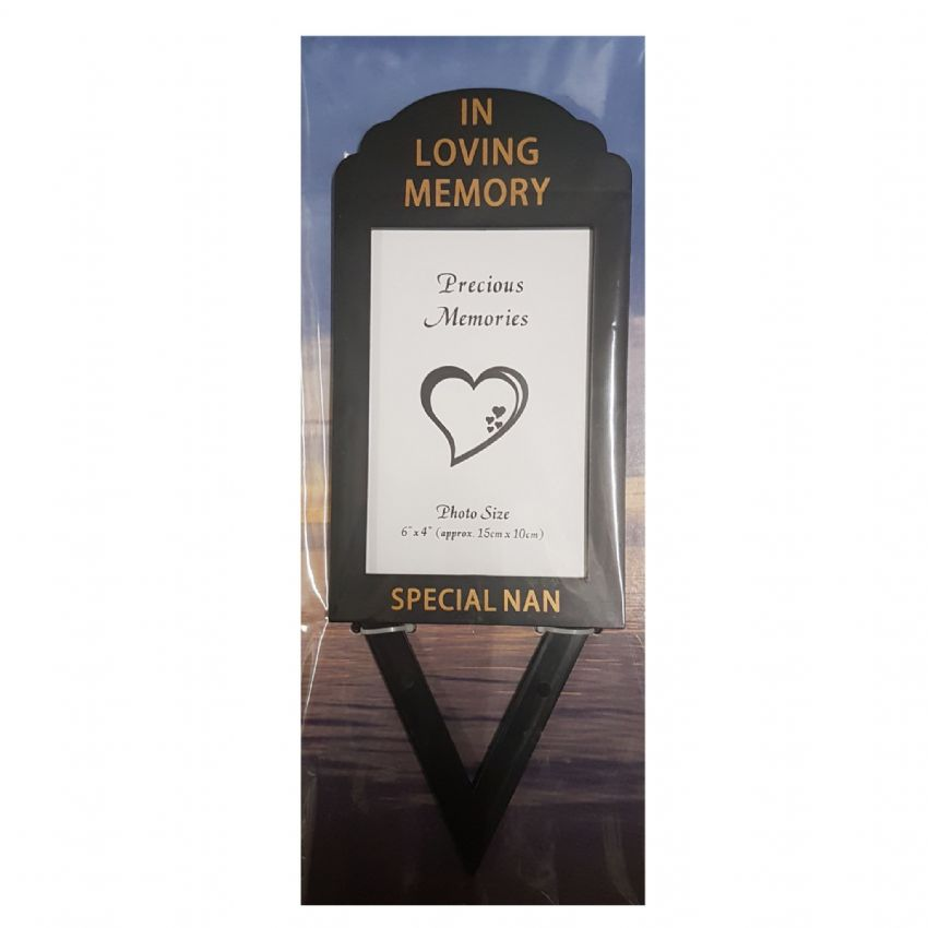 Special Nan In Loving Memory - Photo Frame Holder Memorial Grave Spike By David Fischhoff